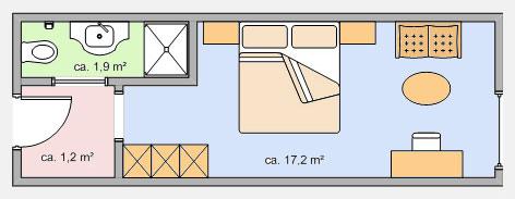 Grundriss Doppelzimmer Kriegerhorn - Hotel Appartement Roggal in Lech Zürs