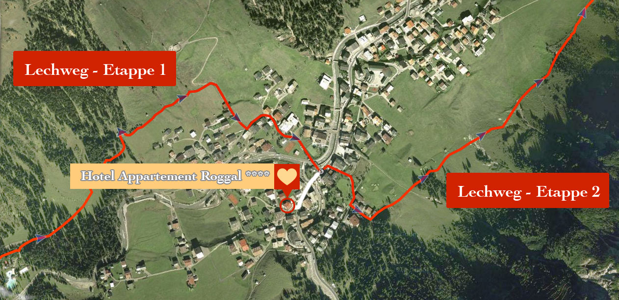 Lech Lechweg Lage zum Hotel Roggal - 160m